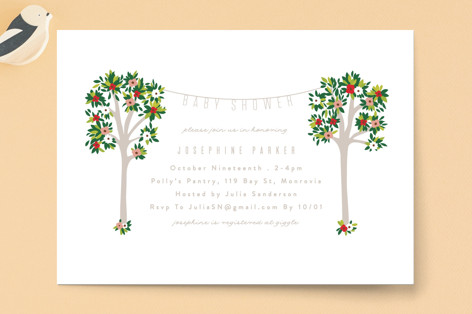 Woodland Flower Trees Baby Shower Invitations