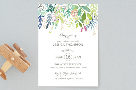 Spring Time Top Border Baby Shower Invitations