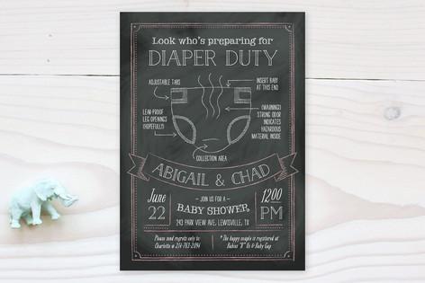 Diaper Duty Baby Shower Invitations
