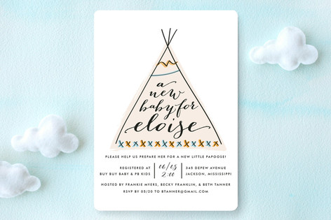 Baby Teepee Baby Shower Invitations