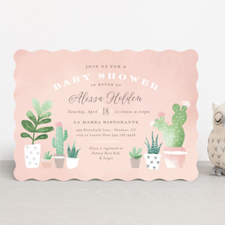 Watercolor cactus Baby Shower Invitations