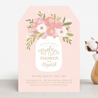 Mason jar florals Baby Shower Invitations