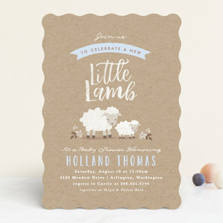 Little Lamb Baby Shower Invitations