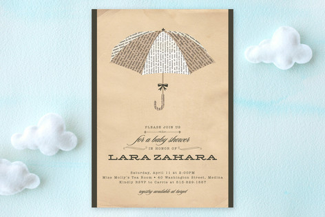 Umbrella of Advice Baby Shower Invitations
