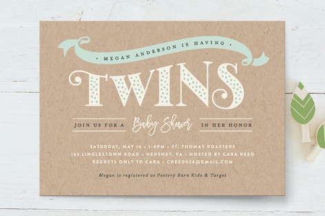 Dotted twins Baby Shower Invitations