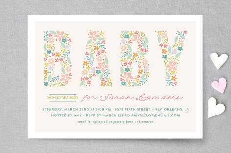 Spring Garden Baby Shower Invitations