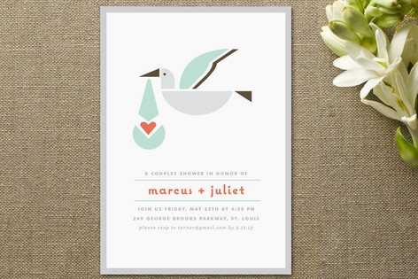 Simply Stork Baby Shower Invitations