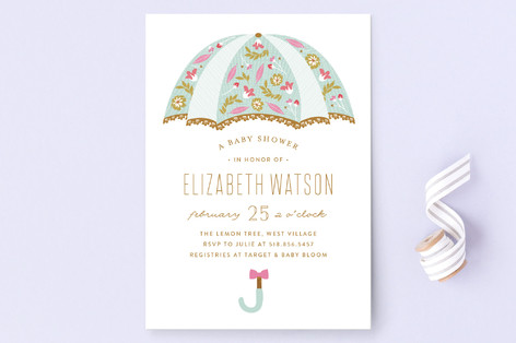 Beautiful Umbrella Baby Shower Invitations