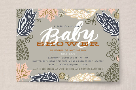 Fall Foliage Baby Shower Invitations