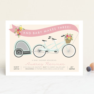 Bicycle Built for Three Baby Shower Invitations