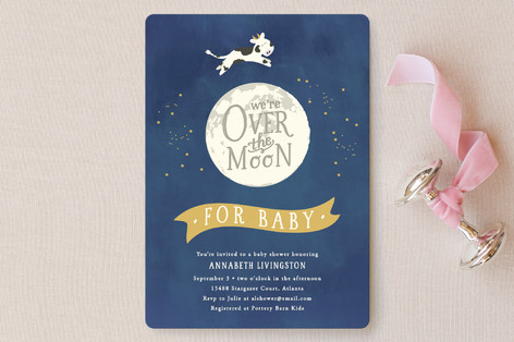 over the moon baby shower invitations by sara heil minted