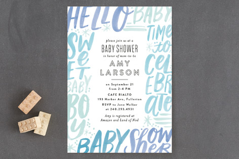 Word Play Frame Baby Shower Invitations