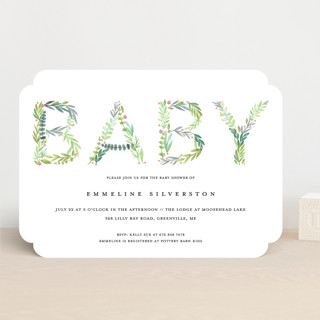 Gentle Foliage Letters Baby Shower Invitations