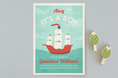 ahoy little matey Baby Shower Invitations