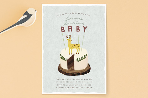 Deer Cake Baby Shower Invitations