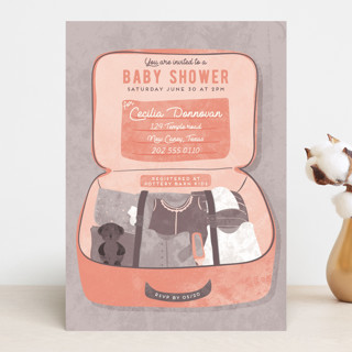 Maternity Suitcase Baby Shower Invitations