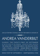 Blue Chandelier Bridal Shower Invitations