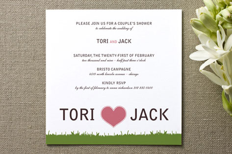float + green Couples Bridal Shower Invitations