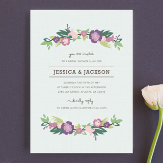 Tropical Branches Couples Bridal Shower Invitations