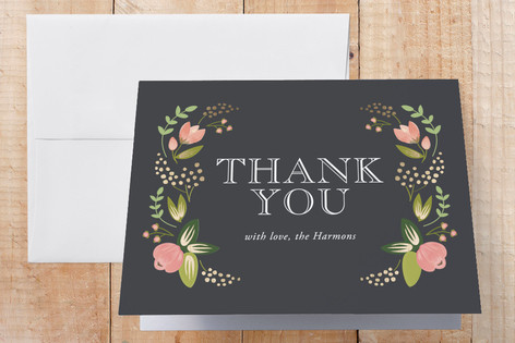 Floral Bounty Foil-Pressed Birth Announcement Thank You Cards