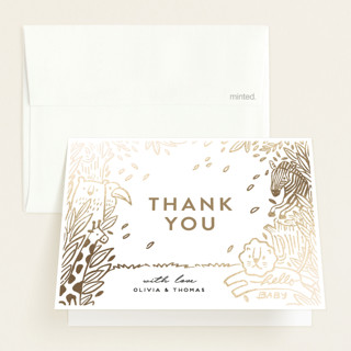 The land of happiness Foil-Pressed Birth Announcement Thank You Cards