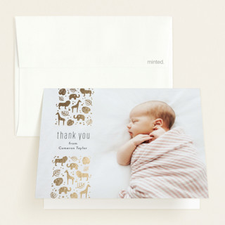Safari Foil-Pressed Birth Announcement Thank You Cards
