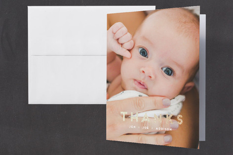 Blissful Foil-Pressed Birth Announcement Thank You Cards