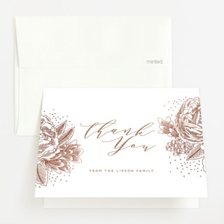 Peony Border Foil-Pressed Birth Announcement Thank You Cards