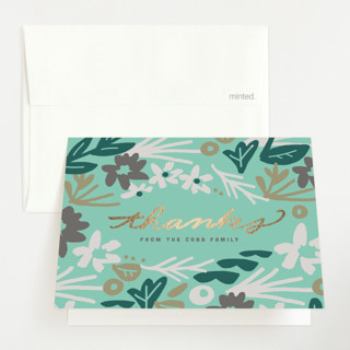 Stringed Hello Foil-Pressed Birth Announcement Thank You Cards
