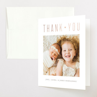 Finally Here Finally Home Foil-Pressed Birth Announcement Thank You Cards