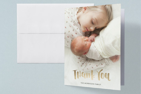 Handlettered Hello Little One Foil-Pressed Birth Announcement Thank You Cards