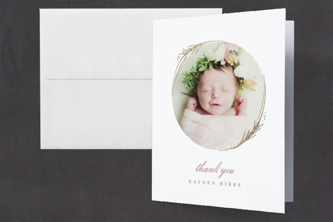 Shine Foil-Pressed Birth Announcement Thank You Cards