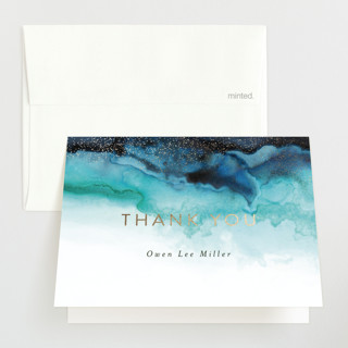 Infinity Foil-Pressed Birth Announcement Thank You Cards