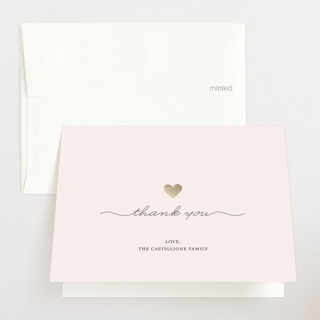 Gold Heart Foil-Pressed Birth Announcement Thank You Cards