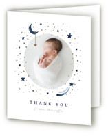 Over the Moon Foil-Pressed Birth Announcement Thank You Cards
