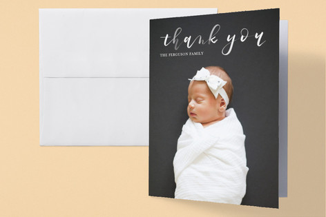 Brushy Love Birth Announcements Thank You Cards