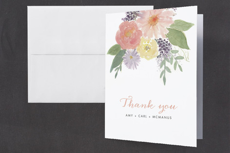 Soft Watercolor Floral Birth Announcements Thank You Cards