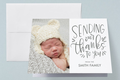 Hand Lettered Little One Birth Announcements Thank You Cards