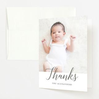 Big Script Birth Announcements Thank You Cards