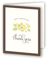 Vintage Yellow Floral Birth Announcements Thank You Cards