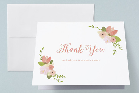 So Sweet Floral Birth Announcements Thank You Cards
