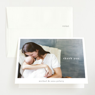 Simple Type Birth Announcements Thank You Cards