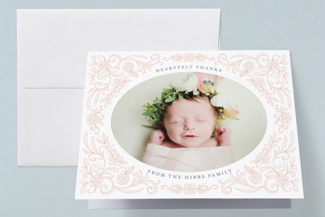 Sweet Floral Frame Birth Announcements Thank You Cards