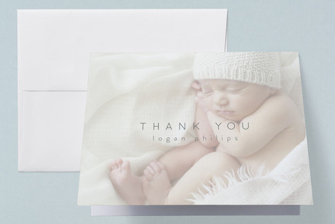 Clean and Classy Birth Announcements Thank You Cards