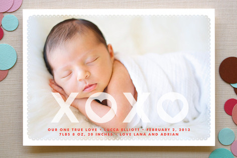 Hearts and Kisses Birth Announcements
