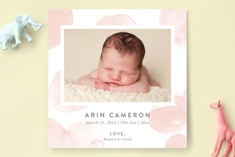 Watercolor Polka Dot Birth Announcements