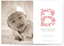 Floral Monogram Birth Announcements