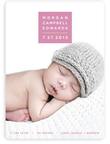 Modern Color Block Birth Announcements