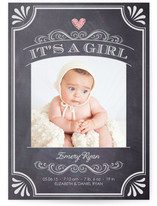 It's A Girl Vintage Chalkboard Birth Announcements