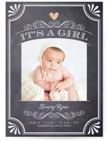 It&#039;s A Girl Vintage Chalkboard Birth Announcements